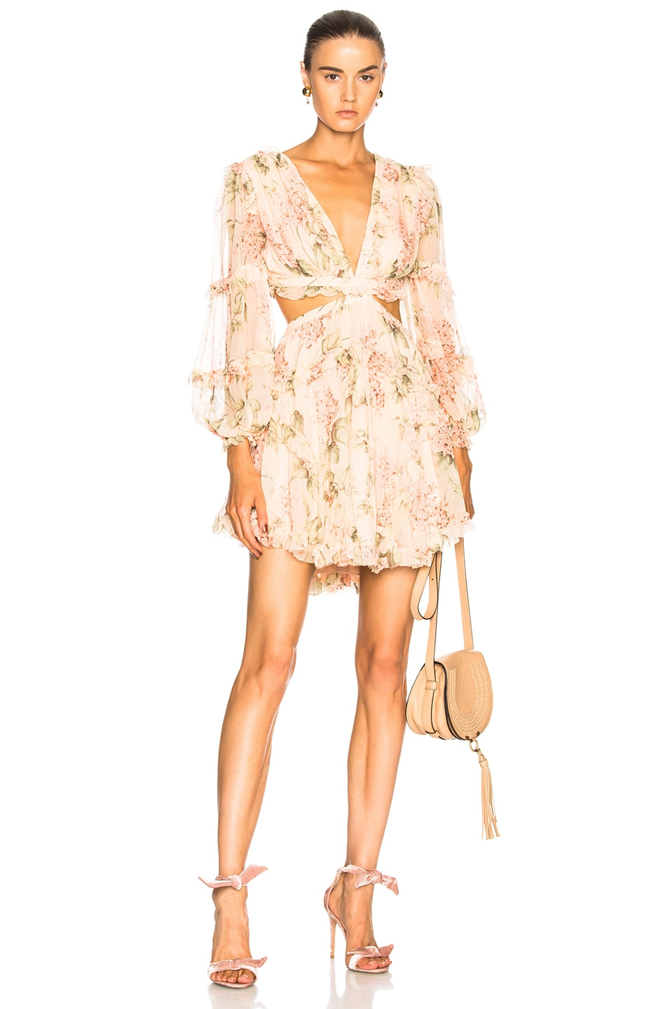 f1522889824fd Image 1 of Zimmermann Prima Floating Cut Out Dress in Peach Floral