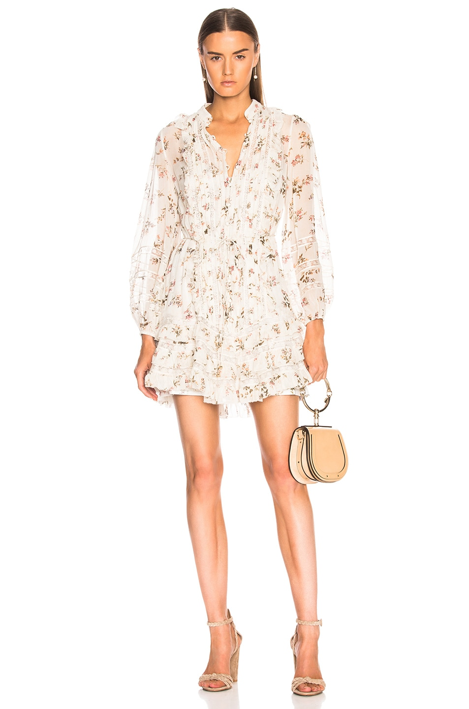 65c3fae12ab2 Image 1 of Zimmermann Breeze Pintuck Mini Dress in Cream Romantic Floral