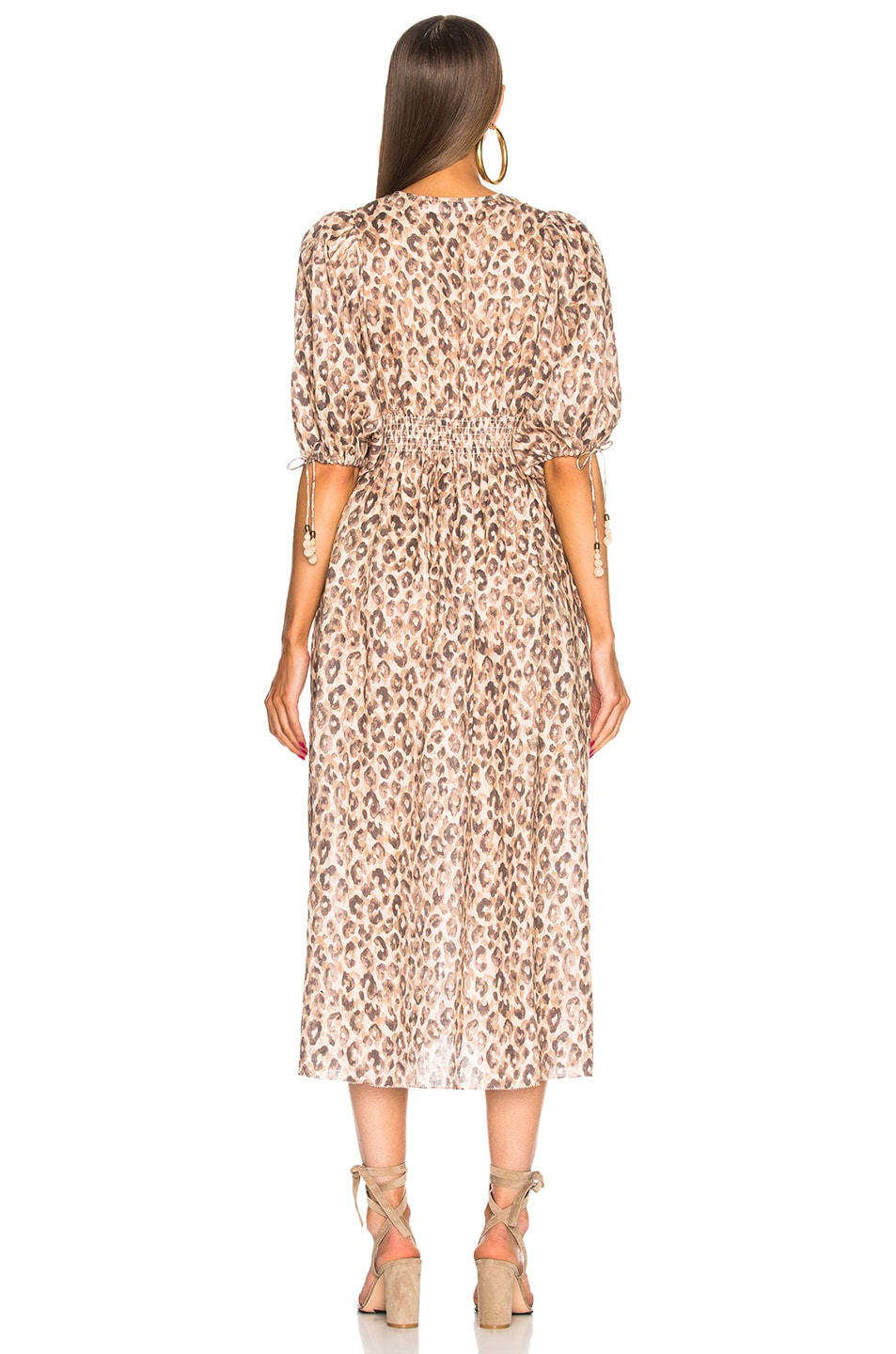 a03c87fd04 Image 3 of Zimmermann Melody Shirred Waist Dress in Leopard