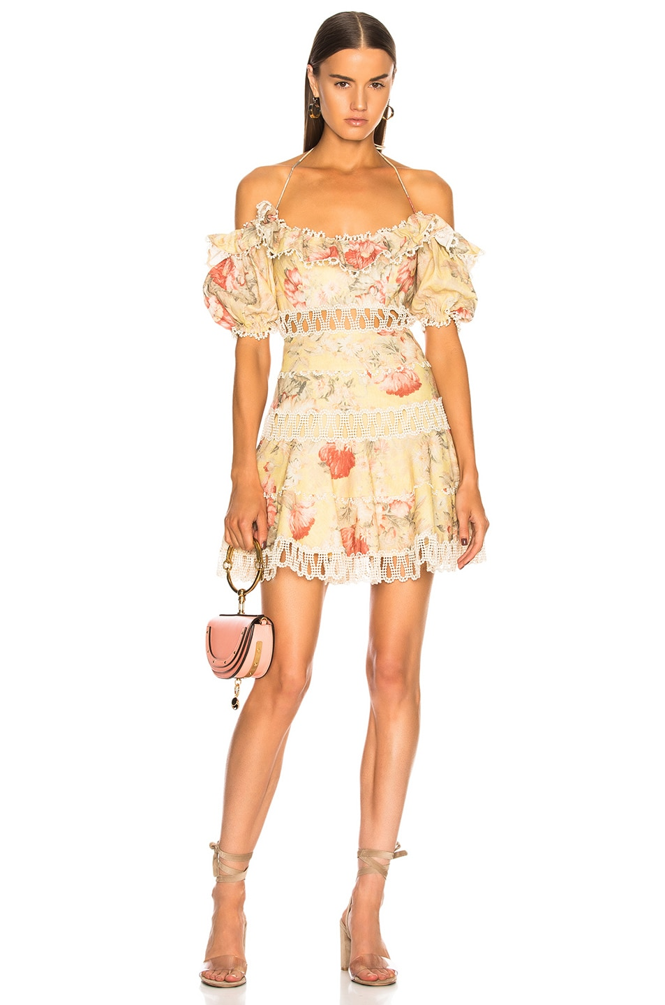 d60c5d4f6cbb Image 1 of Zimmermann Melody Off Shoulder Dress in Mustard Floral