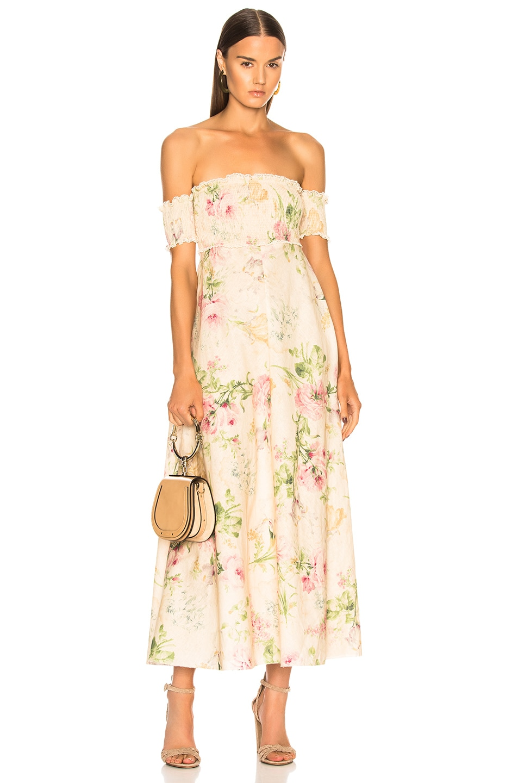 Zimmermann Iris Shirred Bodice Maxi Dress In Cream Floral Fwrd