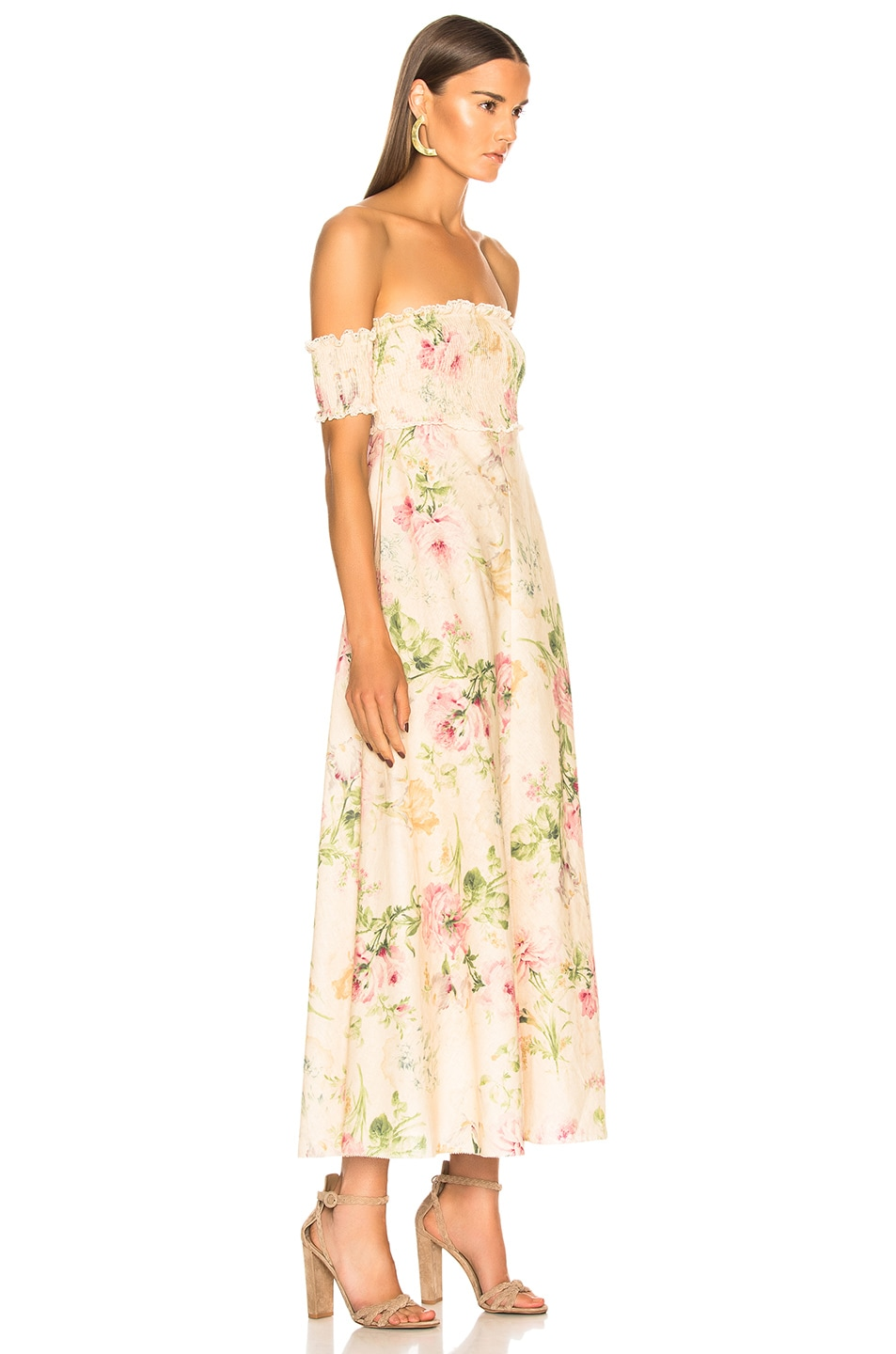 0ae22d151a07 Image 2 of Zimmermann Iris Shirred Bodice Maxi Dress in Cream Floral
