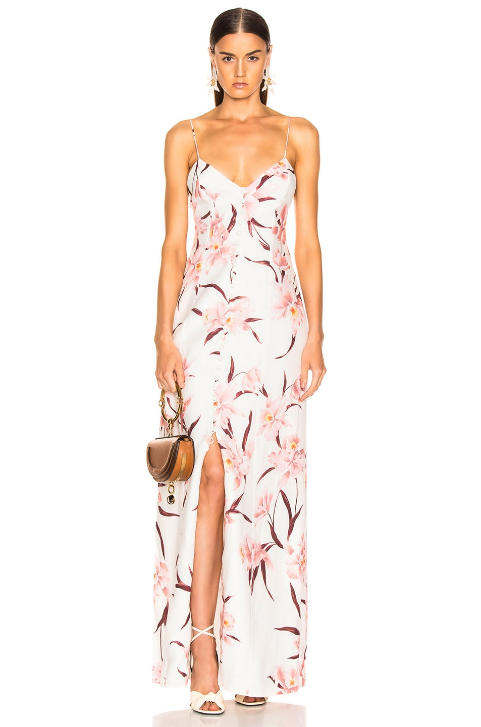 Image 1 of Zimmermann Corsage Slip Dress in Ivory & Peach Orchid