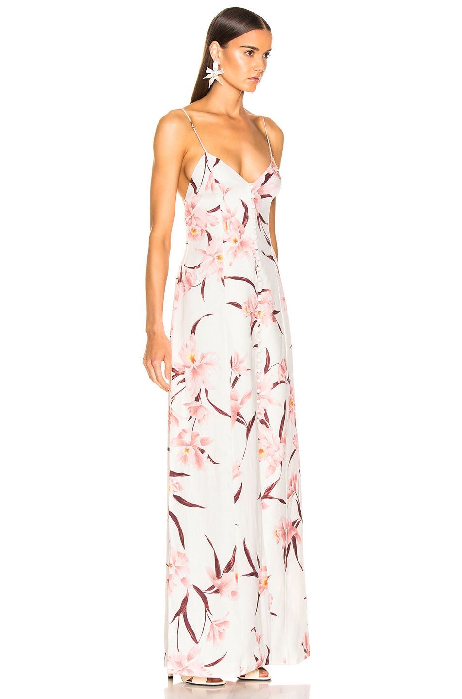 Image 2 of Zimmermann Corsage Slip Dress in Ivory & Peach Orchid