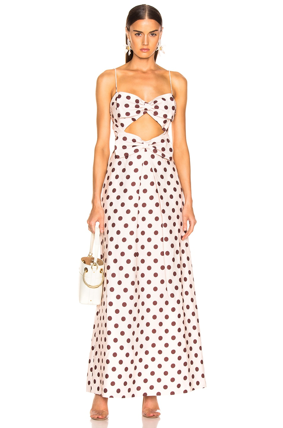 d866ae2a459 Image 1 of Zimmermann Corsage Bow Dress in Nude   Cocoa Dot