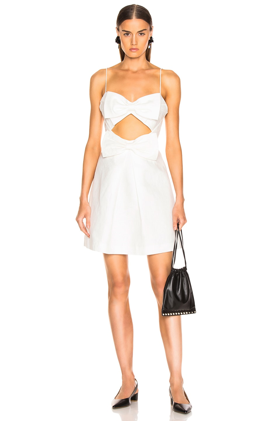 Image 1 of Zimmermann Corsage Bow Mini Dress in Ivory