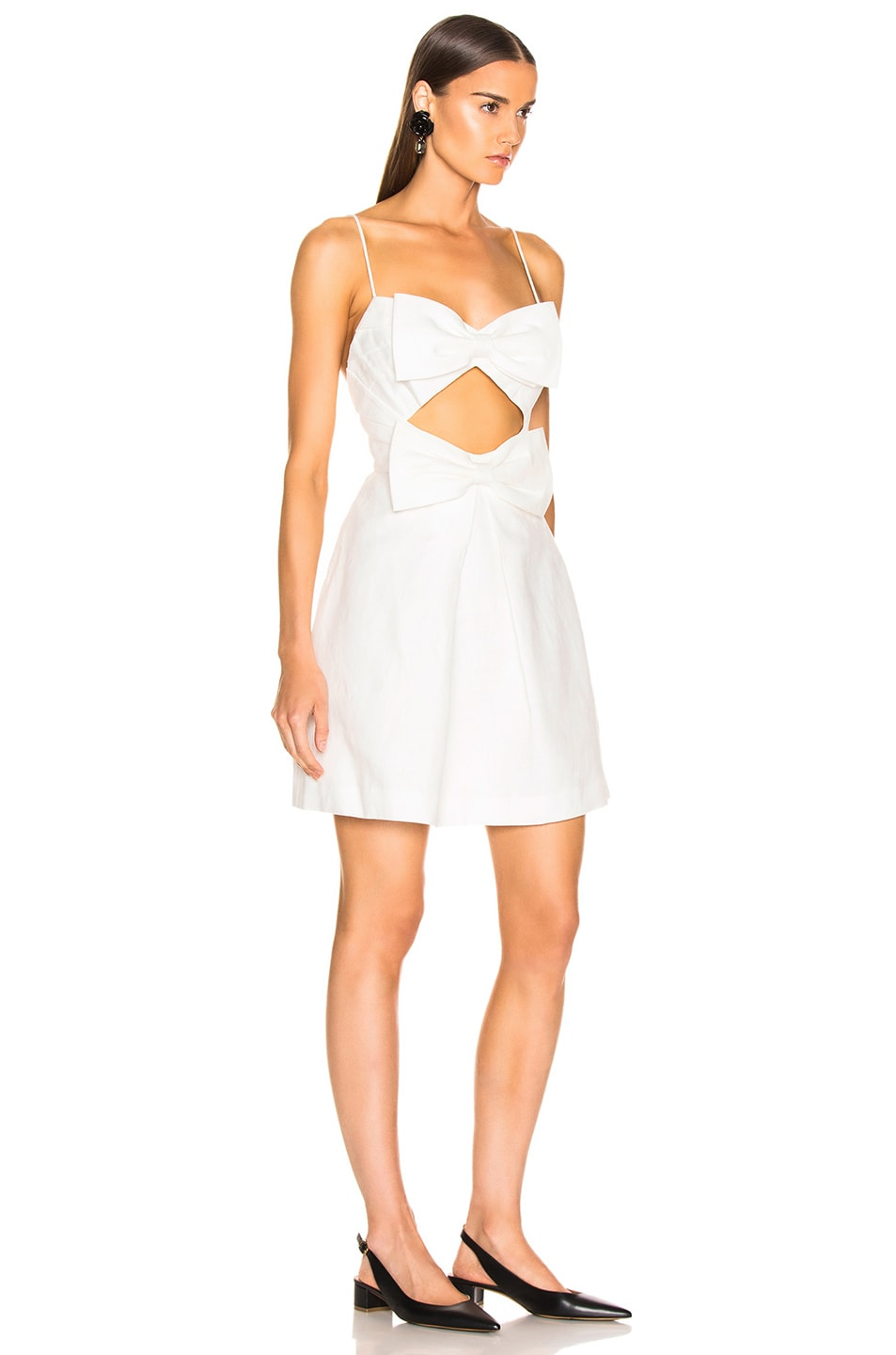 Image 2 of Zimmermann Corsage Bow Mini Dress in Ivory