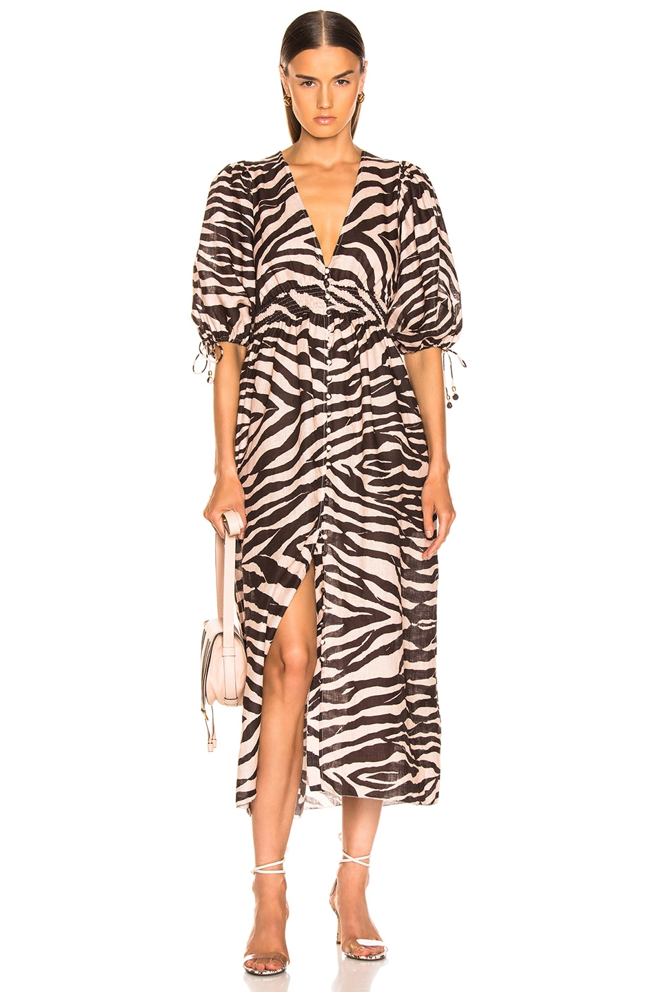 8e540649af Image 1 of Zimmermann Juniper Shirred Waist Dress in Zebra