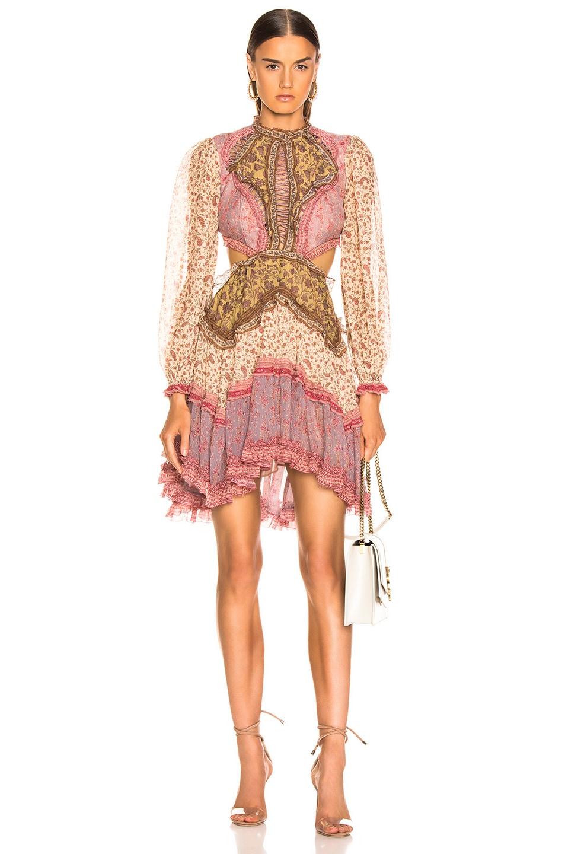 Image 1 of Zimmermann Juniper Cut Out Floating Dress in Spliced