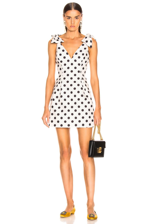 Image 1 of Zimmermann Corsage Tie Dress in Ivory & Black Dot