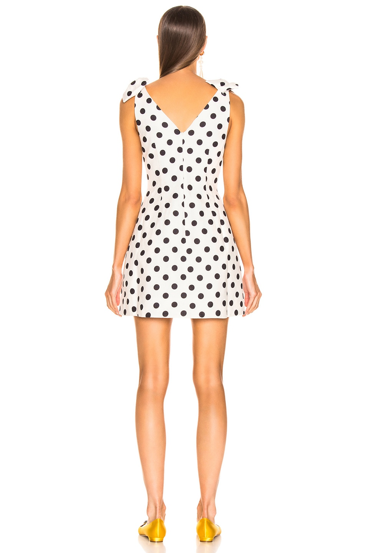 Image 3 of Zimmermann Corsage Tie Dress in Ivory & Black Dot