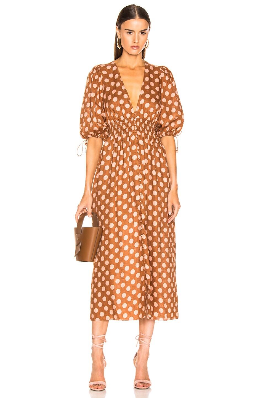 8ea057cac139f Zimmermann Primrose Shirred Waist Long Dress in Tan Dot | FWRD
