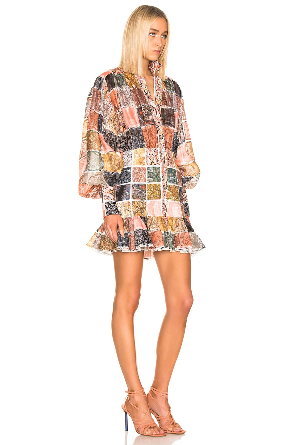 Image 2 of Zimmermann Ninety Six Patch Mini Dress in Patchwork Paisley