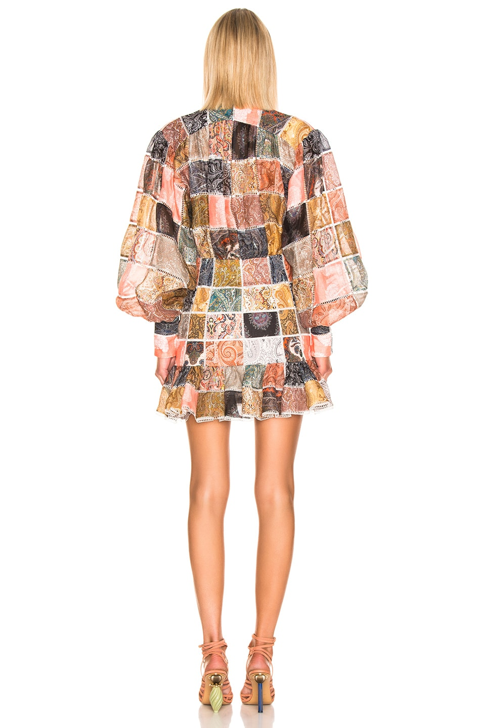 Image 3 of Zimmermann Ninety Six Patch Mini Dress in Patchwork Paisley