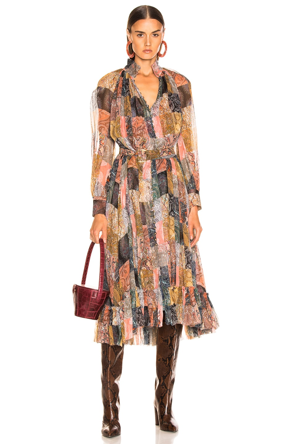 Image 1 of Zimmermann Ninety Six Smock Dress in Patchwork Paisley