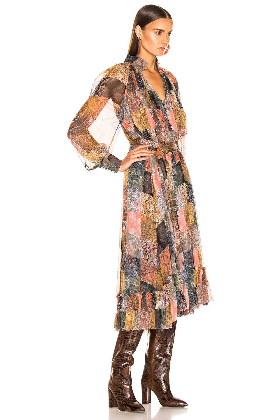 Image 2 of Zimmermann Ninety Six Smock Dress in Patchwork Paisley