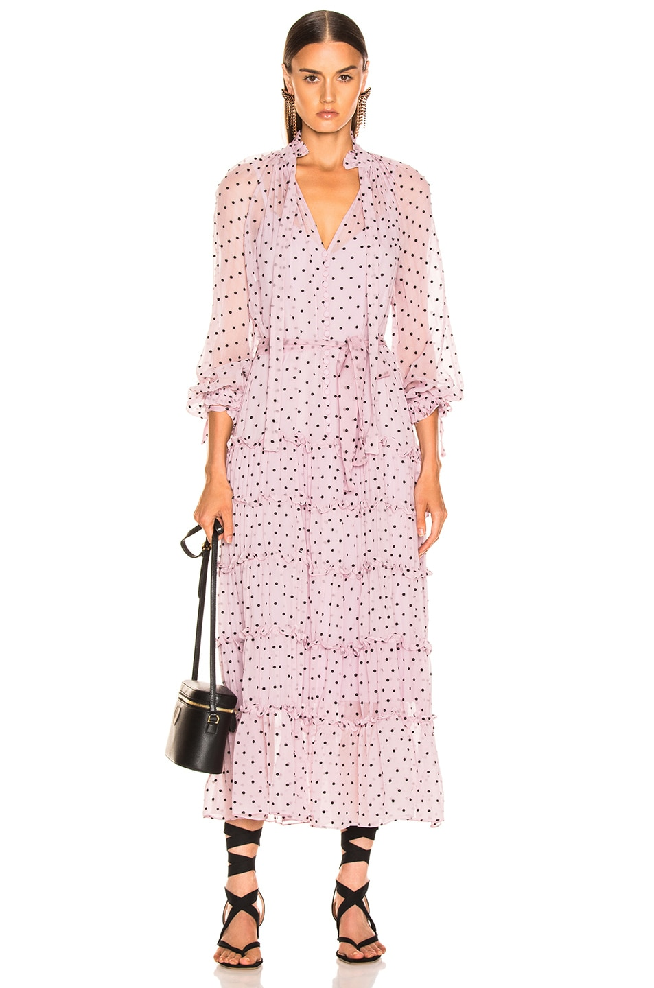 Image 1 of Zimmermann Ninety Six Neck Tie Dress in Lilac Dot