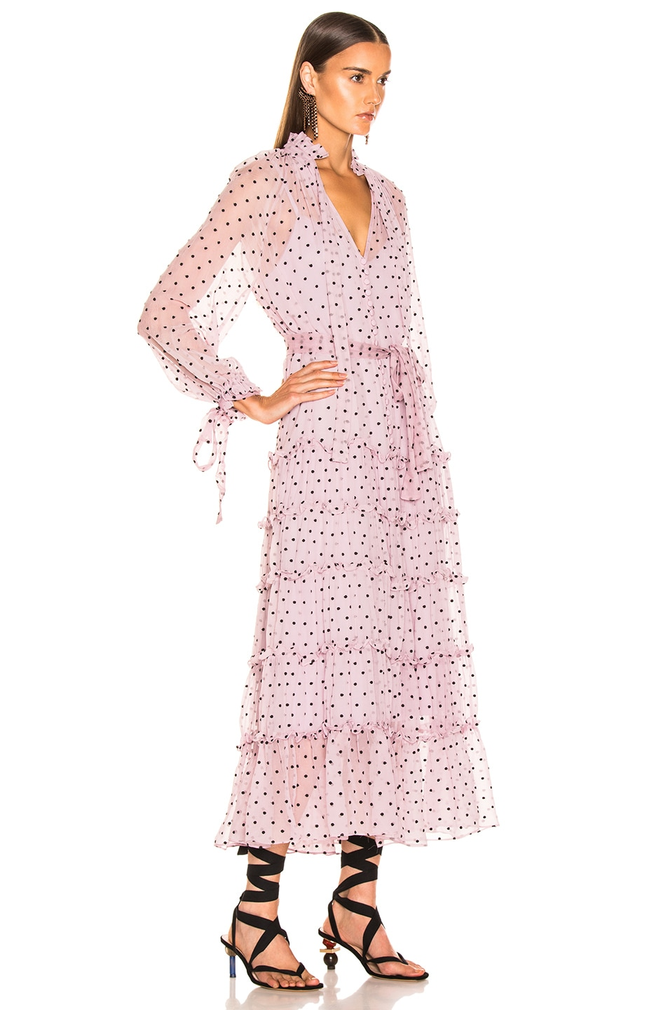 Image 2 of Zimmermann Ninety Six Neck Tie Dress in Lilac Dot