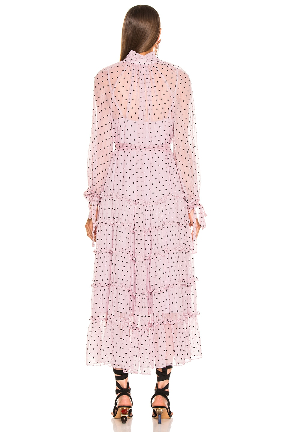 Image 3 of Zimmermann Ninety Six Neck Tie Dress in Lilac Dot