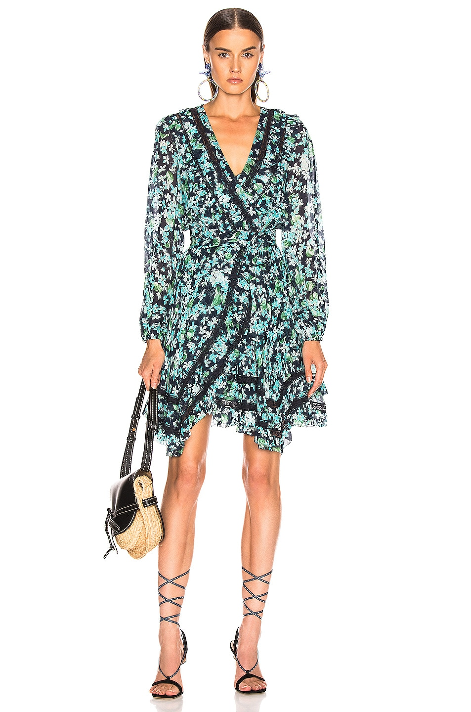 Image 1 of Zimmermann Moncur Wrap Mini Dress in Meadow Floral