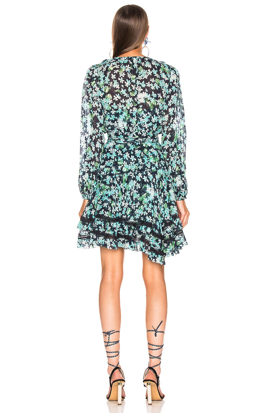 Zimmermann Moncur Wrap Mini Dress In Meadow Floral Fwrd