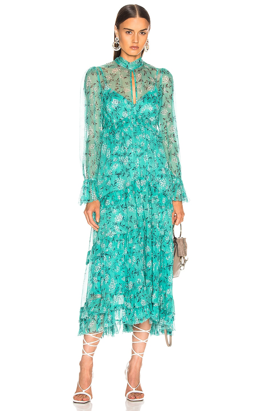 Image 1 of Zimmermann Moncur Gathered Frill Dress in Turquoise Mini Bloom