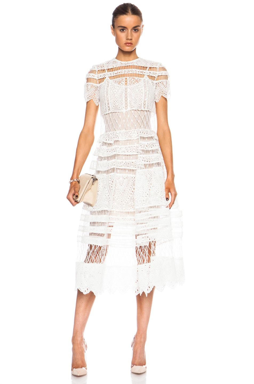 Image 1 Of Zimmermann Riot Eyelet Bell Nylon Blend Dress In White