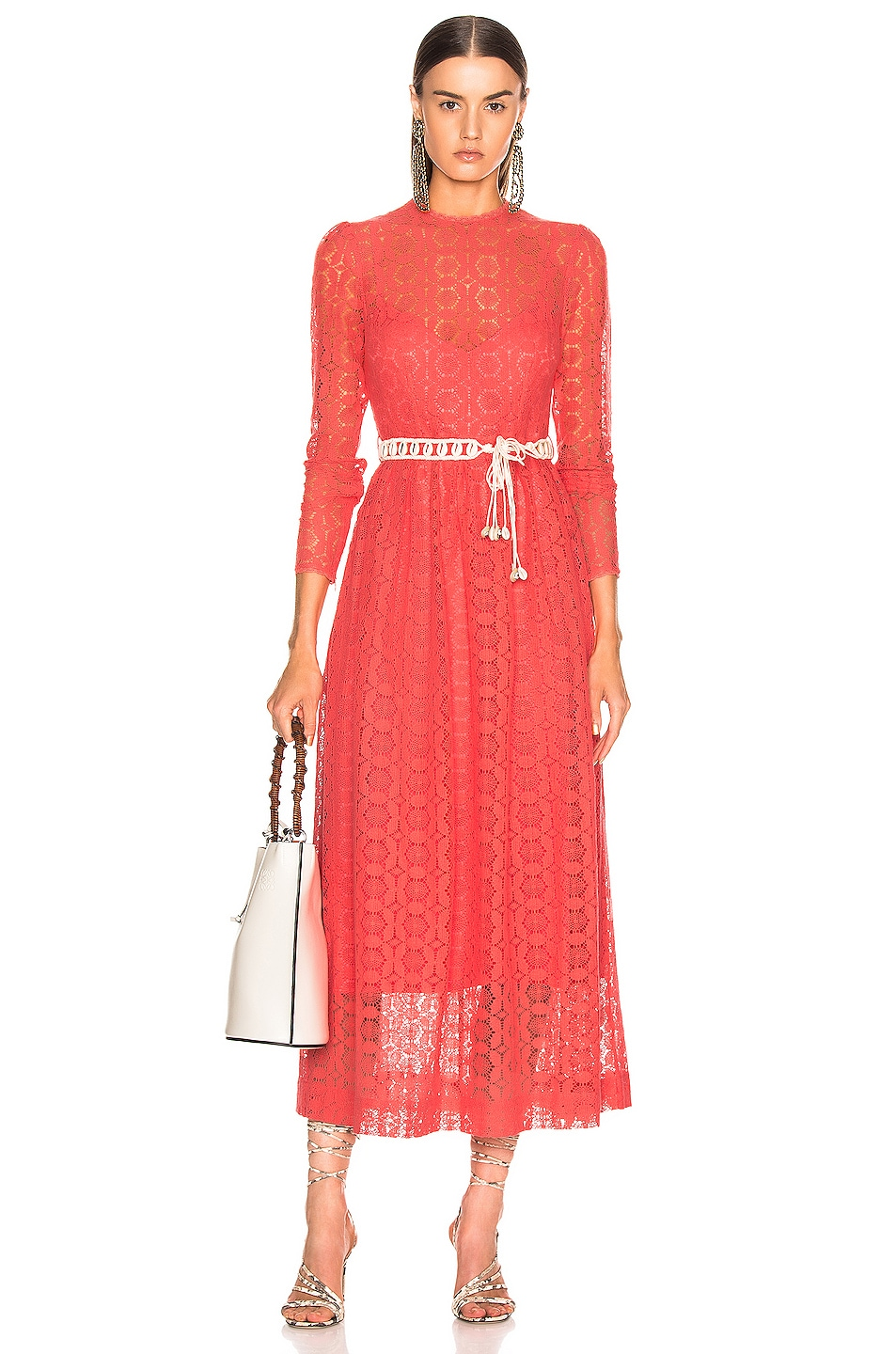 Image 1 of Zimmermann Allia High Neck Lace Dress in Coral
