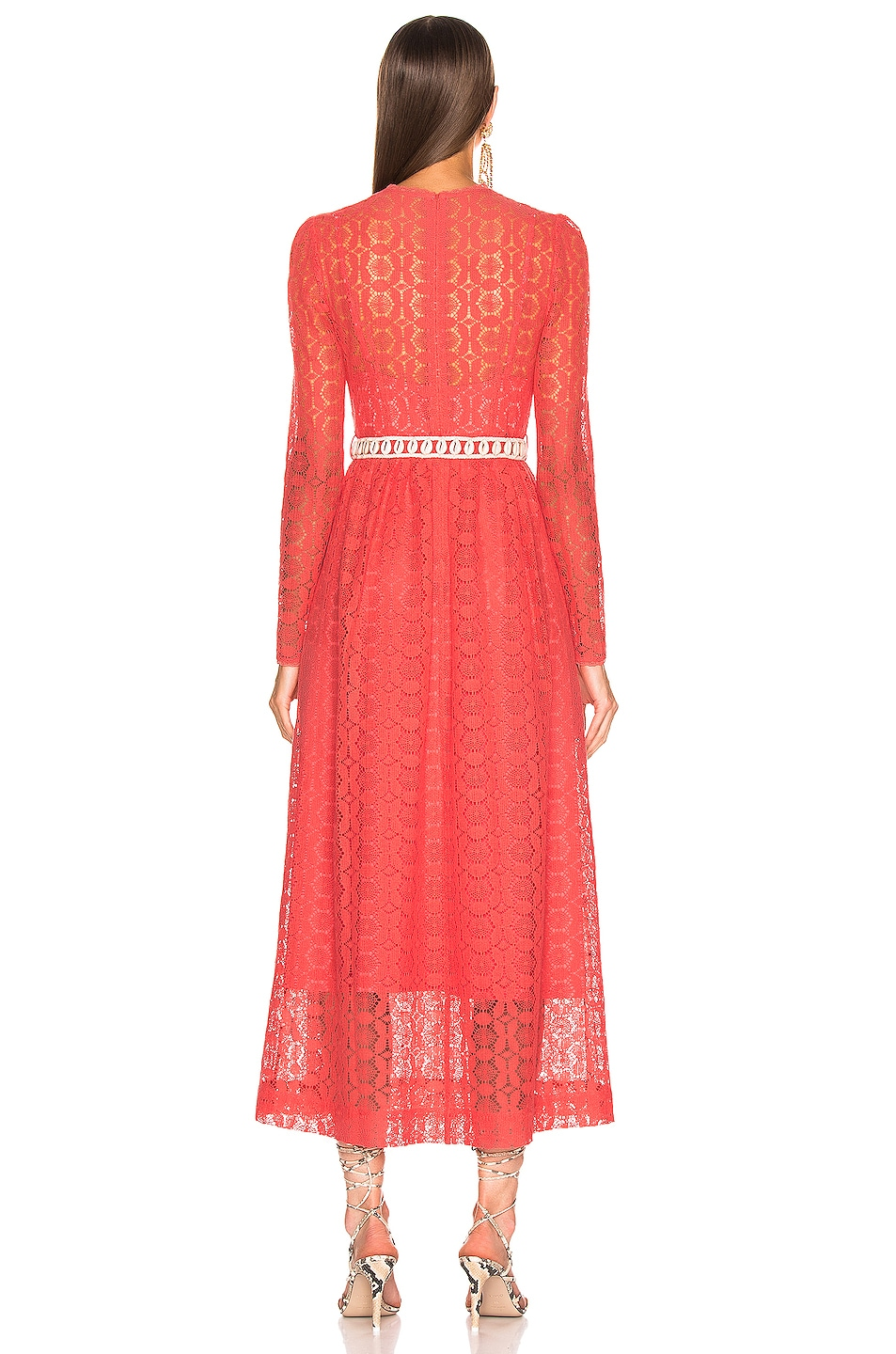 Image 3 of Zimmermann Allia High Neck Lace Dress in Coral