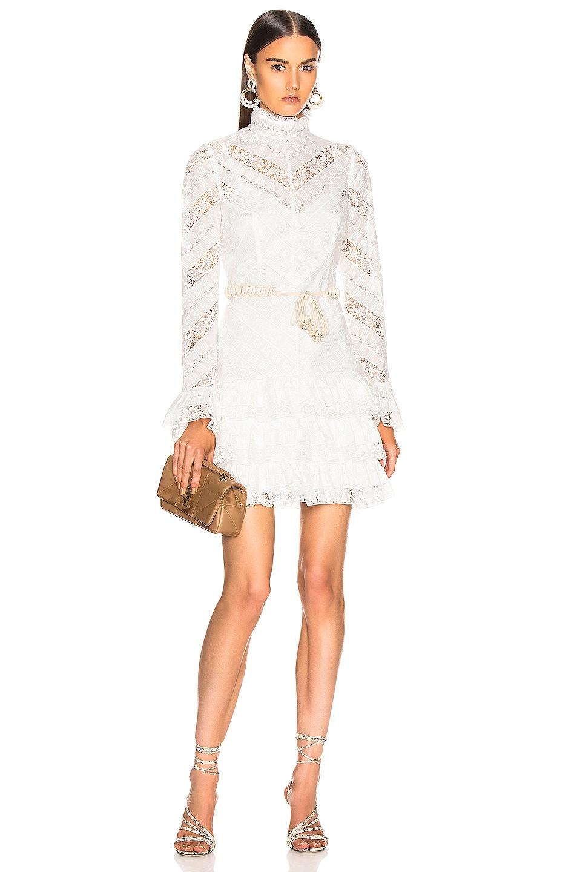 Image 1 of Zimmermann Veneto Perennial Short Dress in Ivory