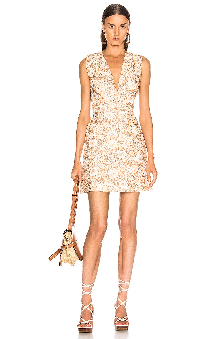 Image 1 of Zimmermann Zippy Lace Up Short Dress in Wallpaper Floral