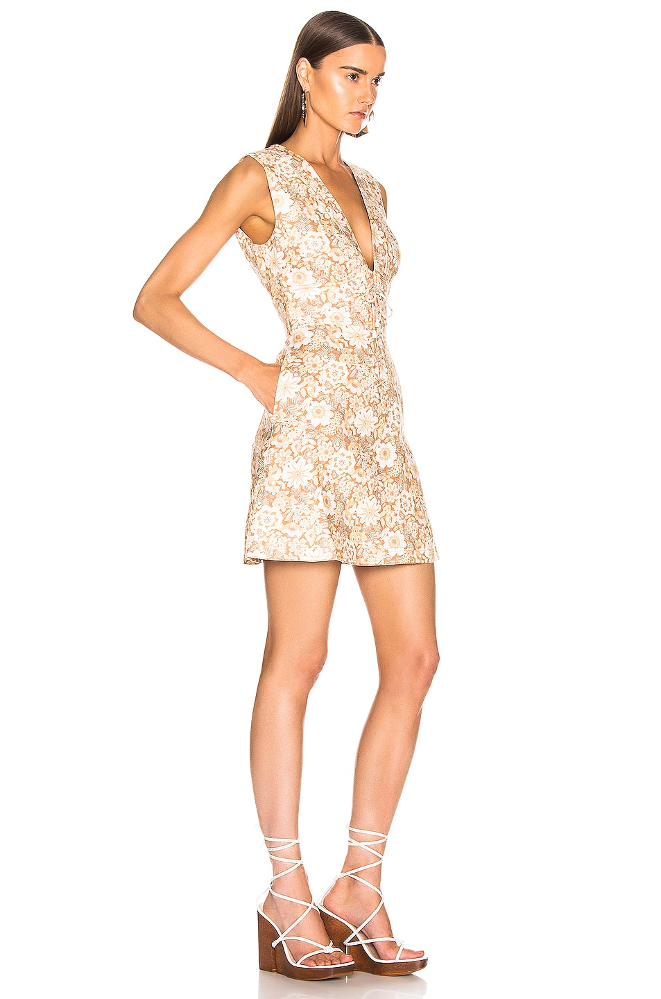 Image 2 of Zimmermann Zippy Lace Up Short Dress in Wallpaper Floral