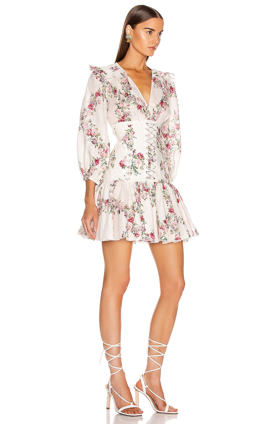 Image 2 of Zimmermann Honour Corset Short Dress in Cream Floral
