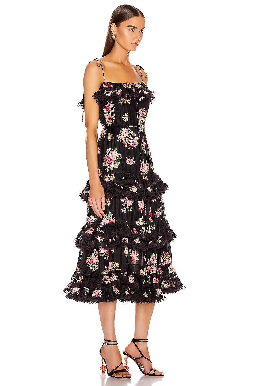 Image 2 of Zimmermann Honour Tiered Tie Dress in Black Floral