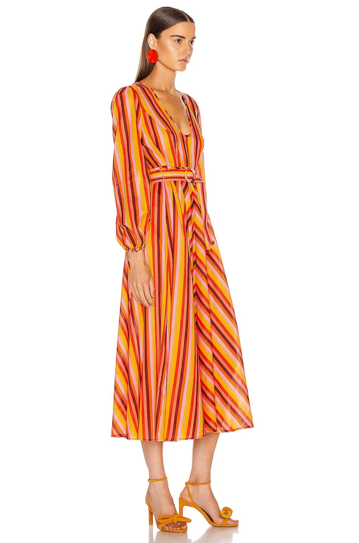 Image 2 of Zimmermann Goldie Rainbow Plunge Dress in Rainbow Stripe
