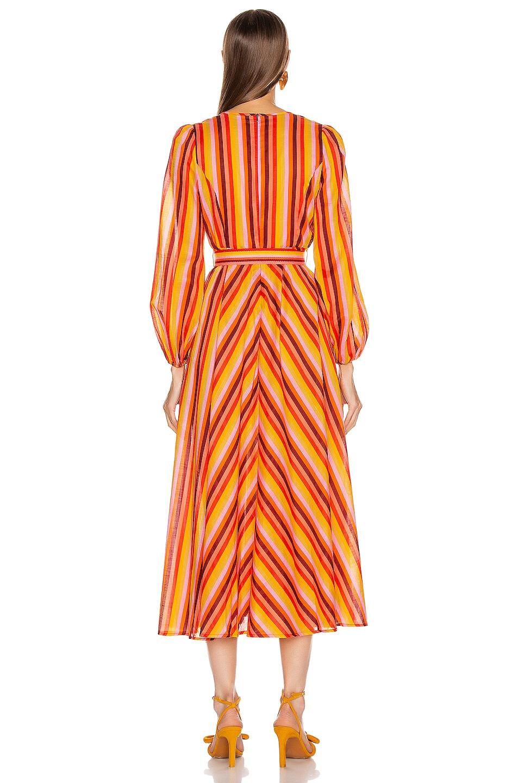 Image 3 of Zimmermann Goldie Rainbow Plunge Dress in Rainbow Stripe
