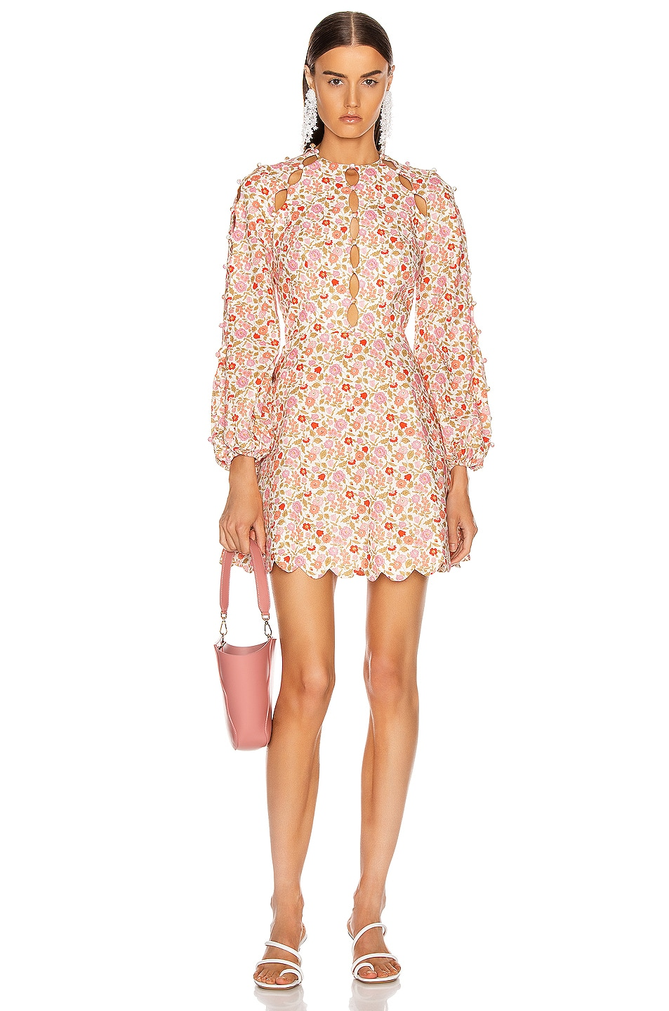 Image 1 of Zimmermann Goldie Scallop Short Dress in Coral Blossom