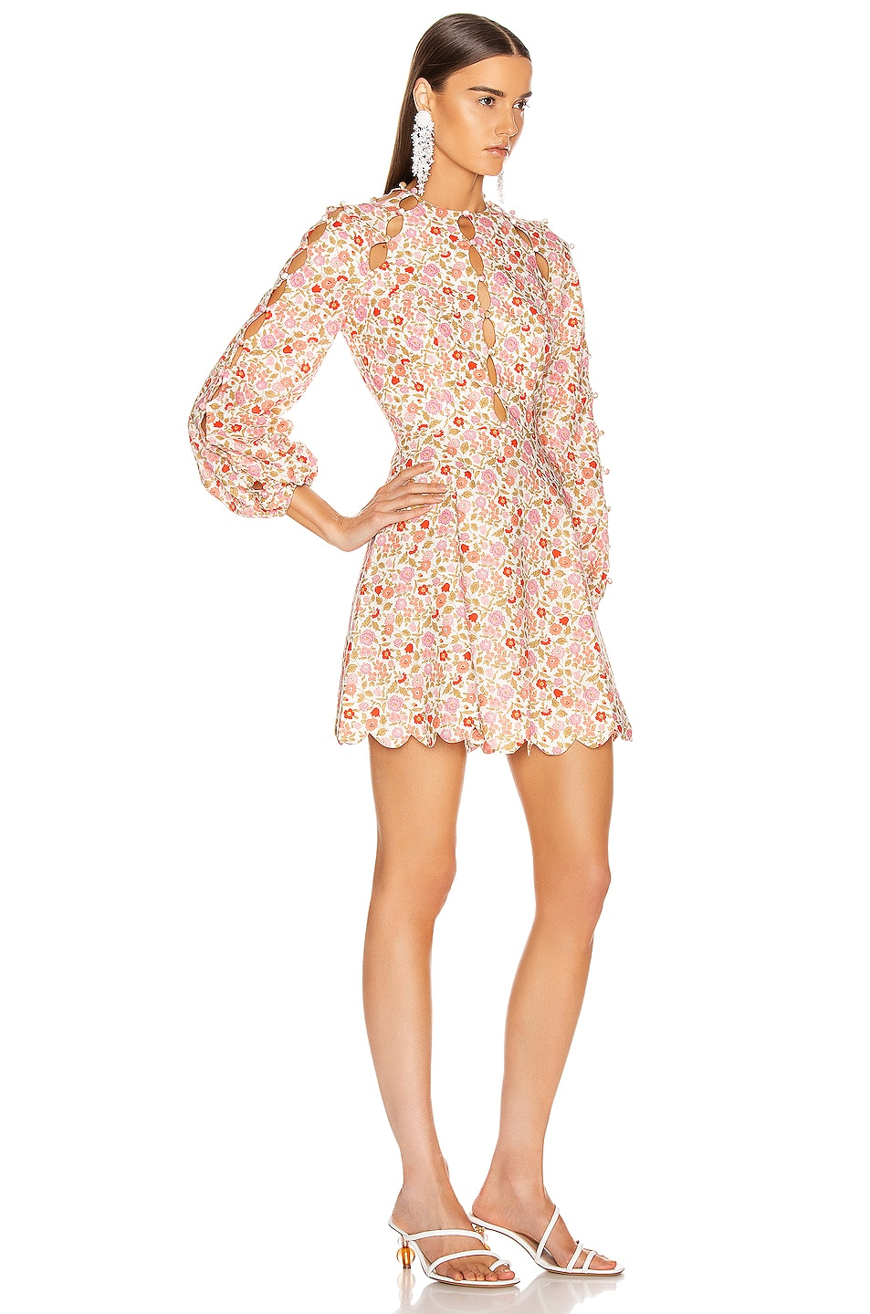 Image 2 of Zimmermann Goldie Scallop Short Dress in Coral Blossom