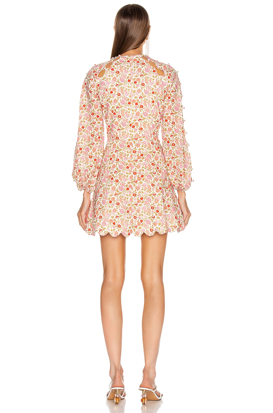 Image 3 of Zimmermann Goldie Scallop Short Dress in Coral Blossom