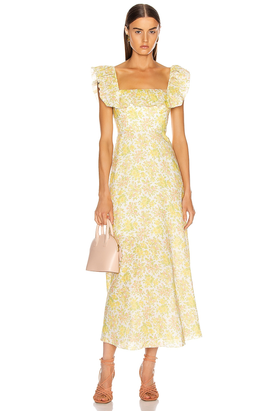 Image 1 of Zimmermann Goldie Ruffle Long Dress in Citrus Floral