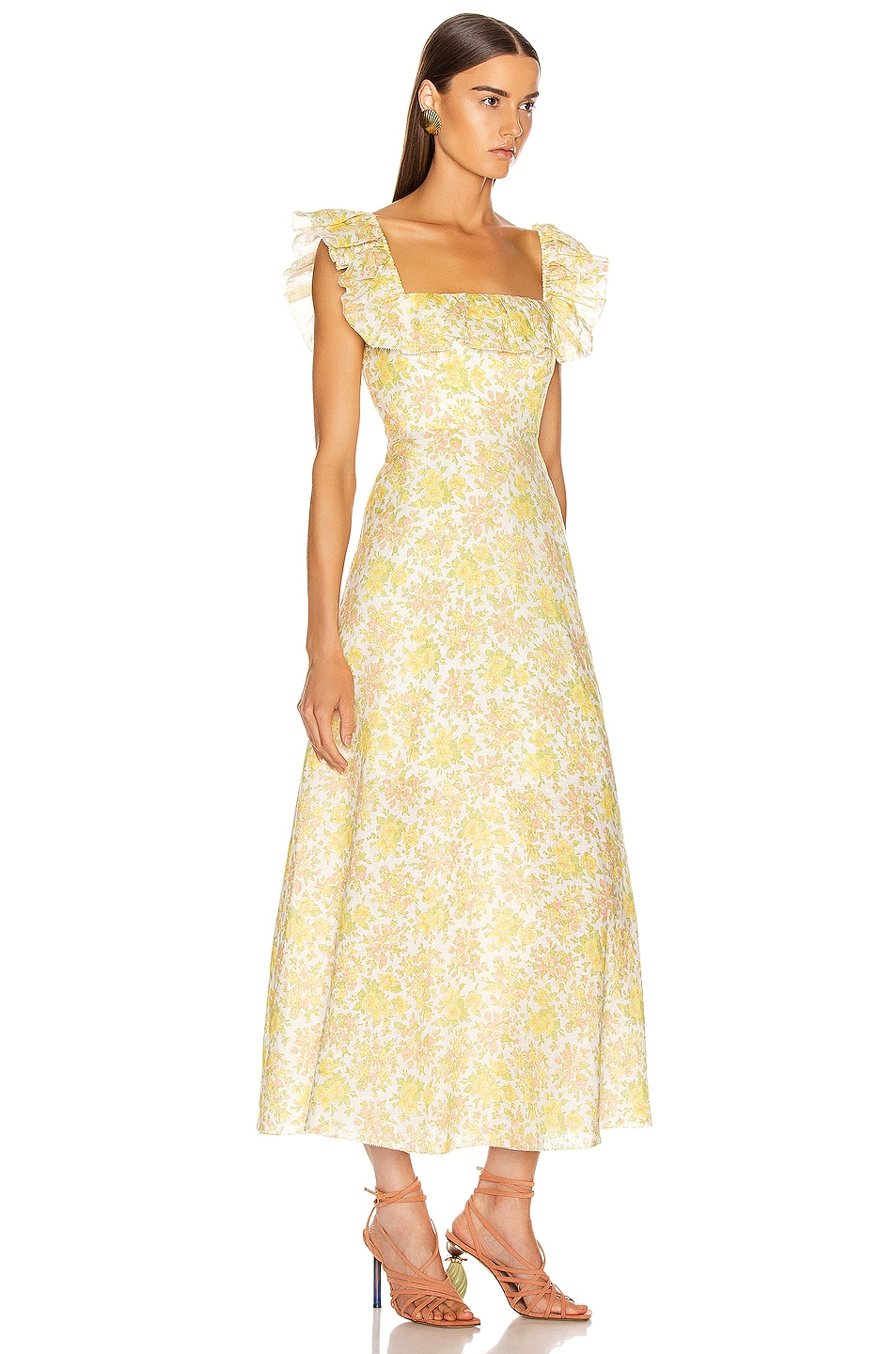 Image 2 of Zimmermann Goldie Ruffle Long Dress in Citrus Floral
