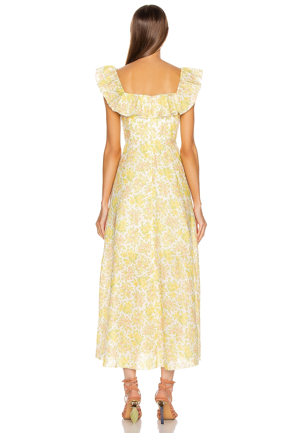 Image 3 of Zimmermann Goldie Ruffle Long Dress in Citrus Floral