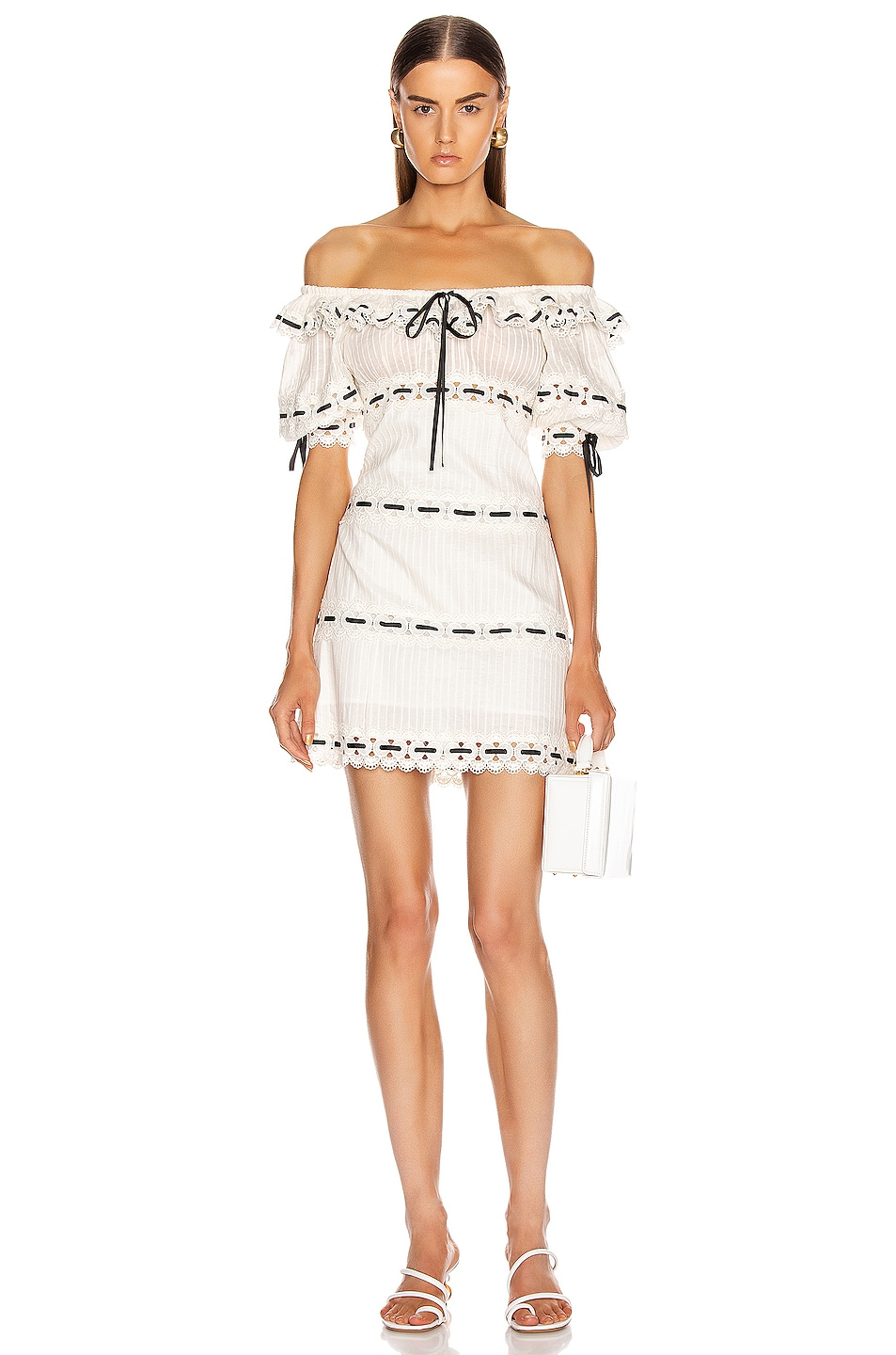 Image 1 of Zimmermann Honour Pintuck Panel Mini Dress in Ivory