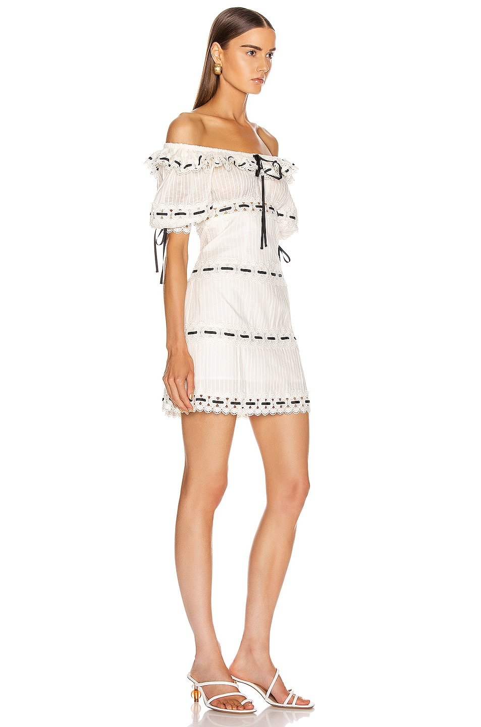 Image 2 of Zimmermann Honour Pintuck Panel Mini Dress in Ivory