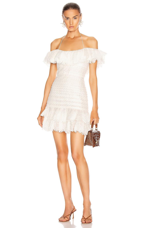 Image 1 of Zimmermann Super Eight Off Shoulder Mini Dress in Ivory