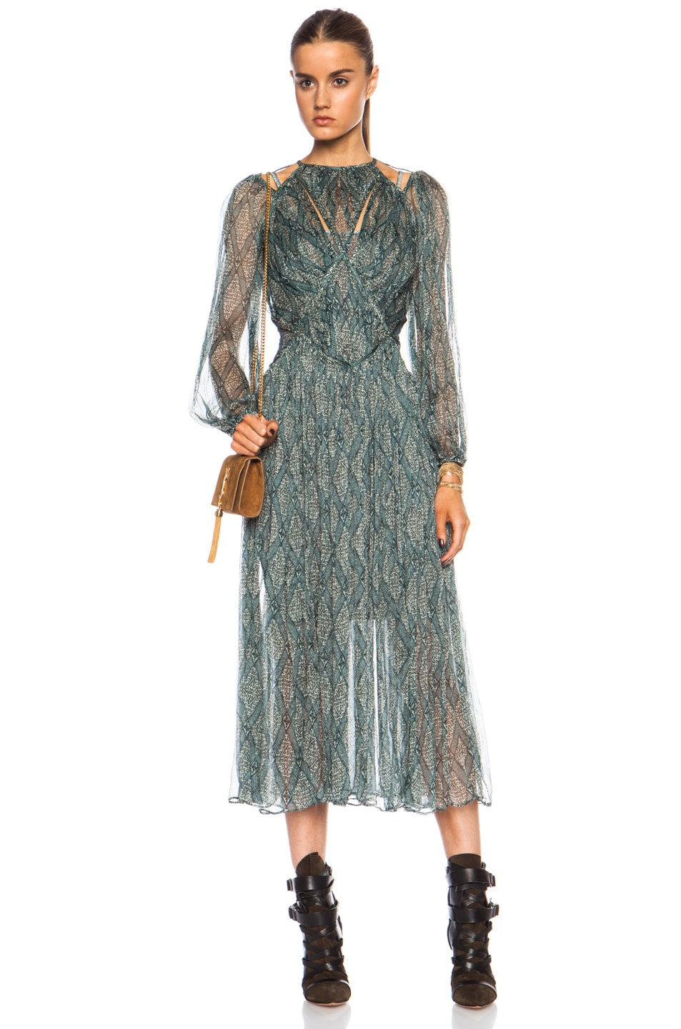 Image 1 of Zimmermann Riot Web Midi Poly Dress in Print