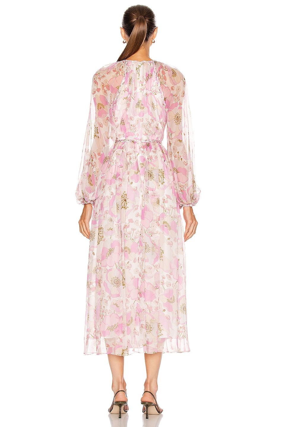 zimmermann super eight braid midi dress in pink poppy fwrd. Black Bedroom Furniture Sets. Home Design Ideas
