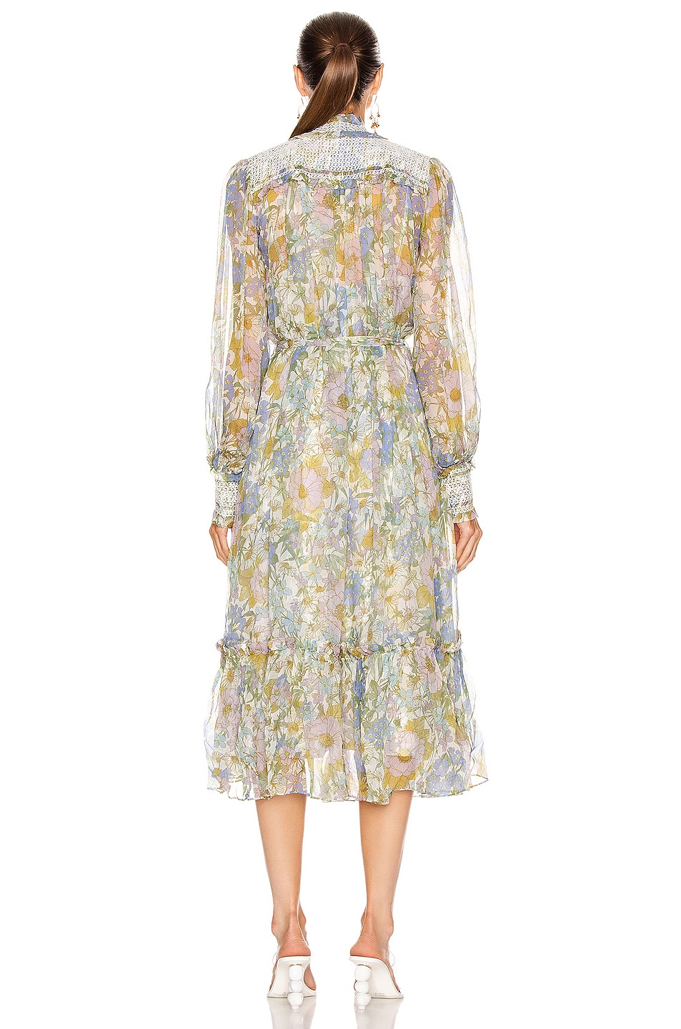 zimmermann super eight shirred midi dress in blue meadow fwrd. Black Bedroom Furniture Sets. Home Design Ideas