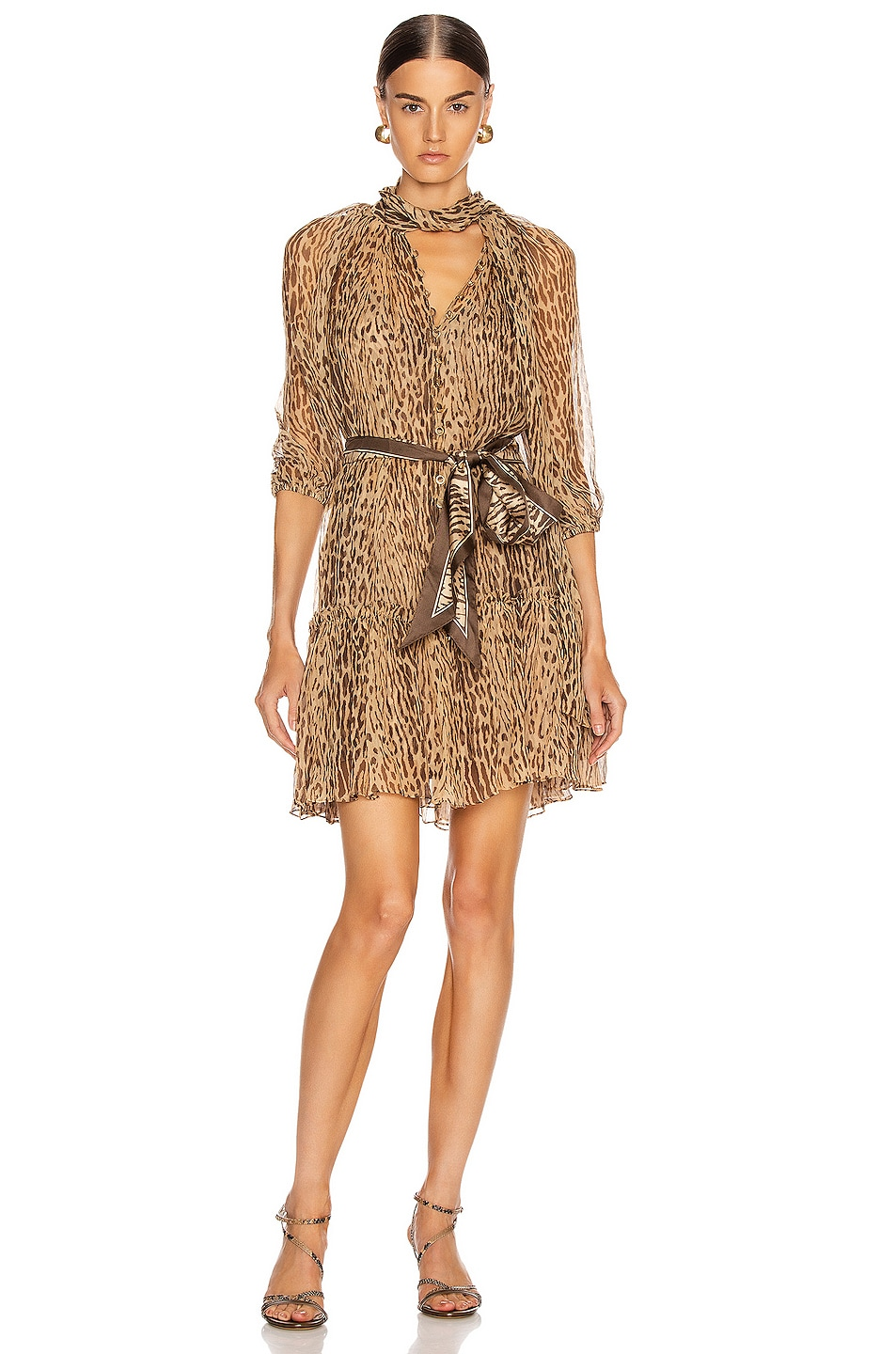 Image 1 of Zimmermann Espionage Neck Tie Mini Dress in Animal
