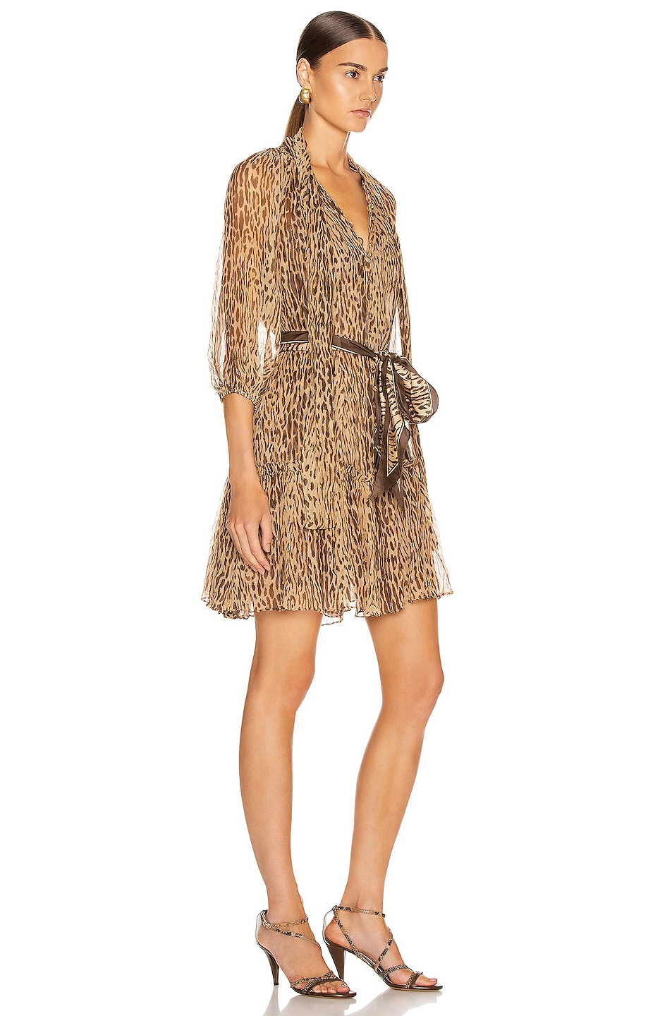 Image 2 of Zimmermann Espionage Neck Tie Mini Dress in Animal
